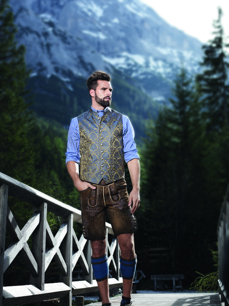 Aufwendig gestaltete Lederhose in Antik-Optik mit goldblauer Weste #Angermaier