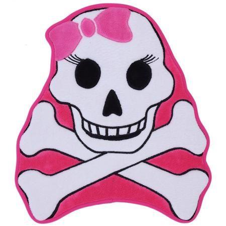Mohawk Home Girls' Shaped Memory Foam Bath Rug, Skulls and Crossbones