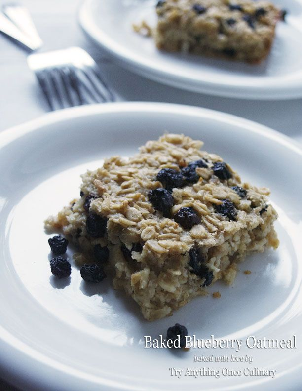 Baked Blueberry Oatmeal for a make ahead weekday breakfast! | www.tryanythingonceculinary.com | #bakedblueberryoatmeal #weekdaybreakfast #schooldaybreakfast