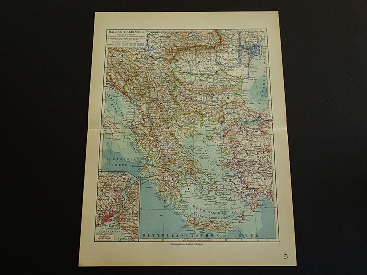 "1913 antique map of the Balkans - beautiful vintage old poster - Greece Turkey Bulgaria Bulgarie Istanbul Bosphorus Serbia - 25x33c 10x13"" by VintageOldMaps on Etsy"