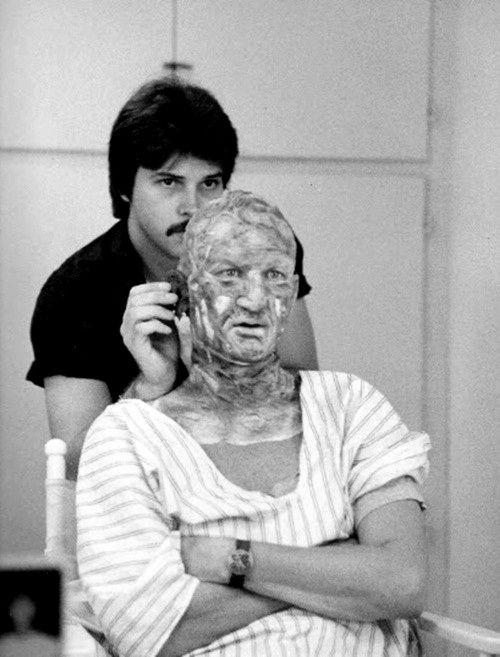 Behind the scene: First make-up test for Freddie Krueger in Nightmare on Elm Street: Make Up, Horror Movies, Nightmare, Makeup Test, Robert Englund, Robertenglund, Freddie Krueger Makeup, Elm Street, Freddy Krueger