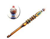 Handmade Wood Crochet Hook Large Multicolored Bead size L