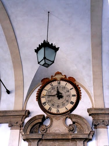 Clock of the 1743 above the entrance door the Pinacoteca of Brera.The Pinacoteca di Brera is the main public gallery for paintings in Milan