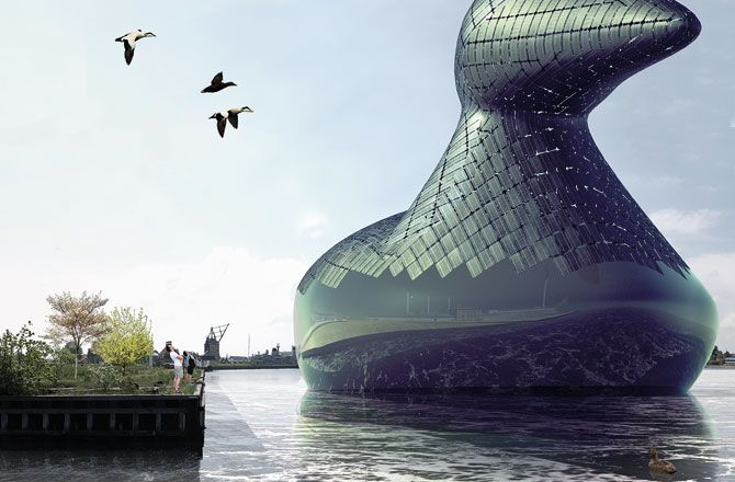 Energy Duck is not just a whimsical floating sculpture; it's also a source of renewable energy.