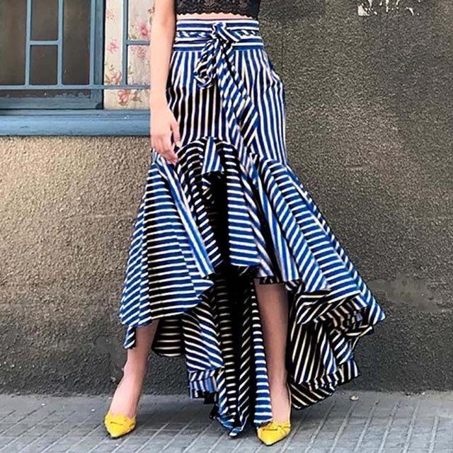 Boho Ruffle Asymmetrical Long Skirt Women Summer Blue Striped High Waistmodkily