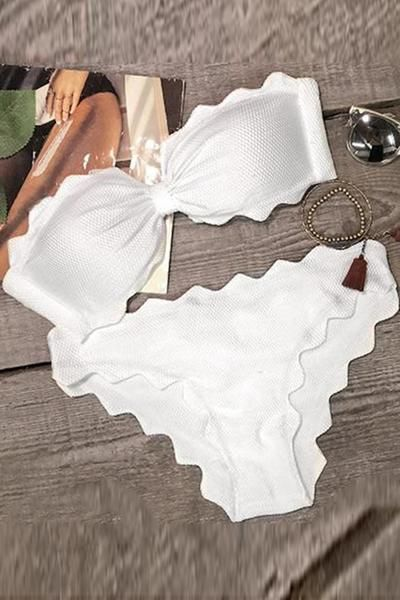 Cupshe Shining Day Waves Halter Bikini Set