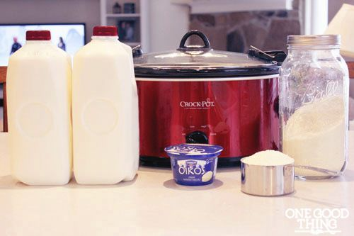 nce the milk has cooled to the 95 to 115 degree range, stir in a half cup of live culture yogurt in a small amount of the warm milk until co...