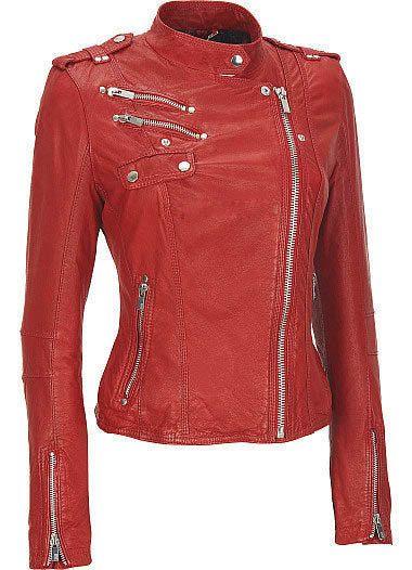 Chaqueta de cuero de mujeres rojas ciclista estilo por DJCollection, $149.99