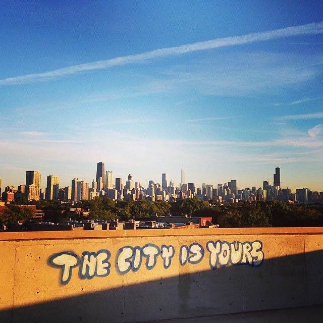 View of the Chicago skyline from the old Children's Memorial Hospital in Lincoln Park (Chicago Pin of the Day, 3/29/2016).