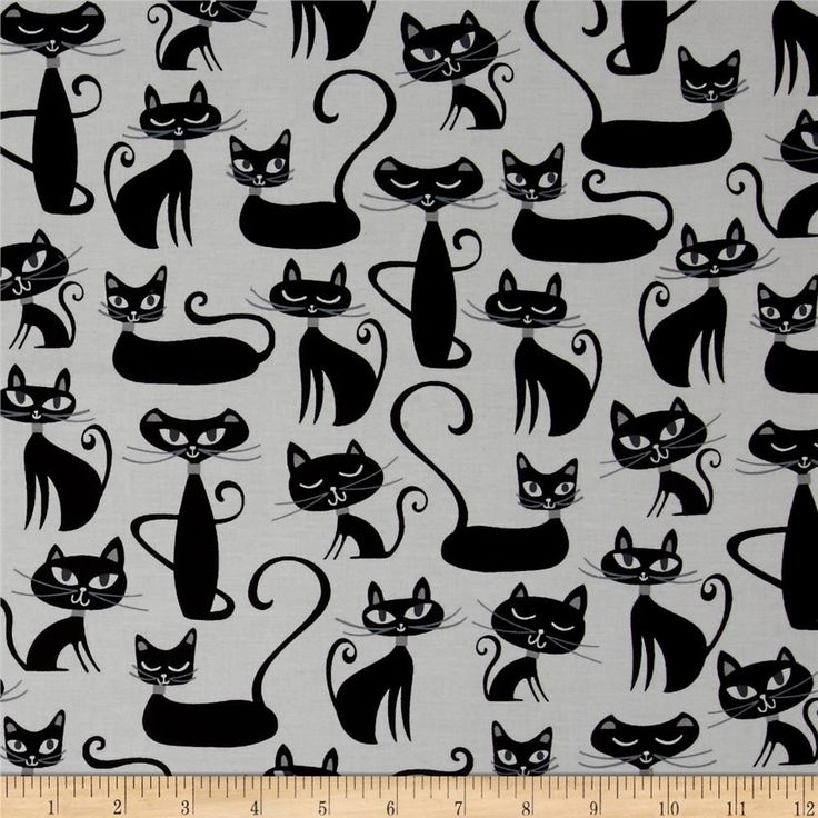 Robert Kaufman Whiskers & Tails Cats Allover White from @fabricdotcom  Designed by Studio RK for Robert Kaufman, this cotton print fabric is perfect for quilting, craft projects, apparel and home decor accents. Colors include black, white, and grey.