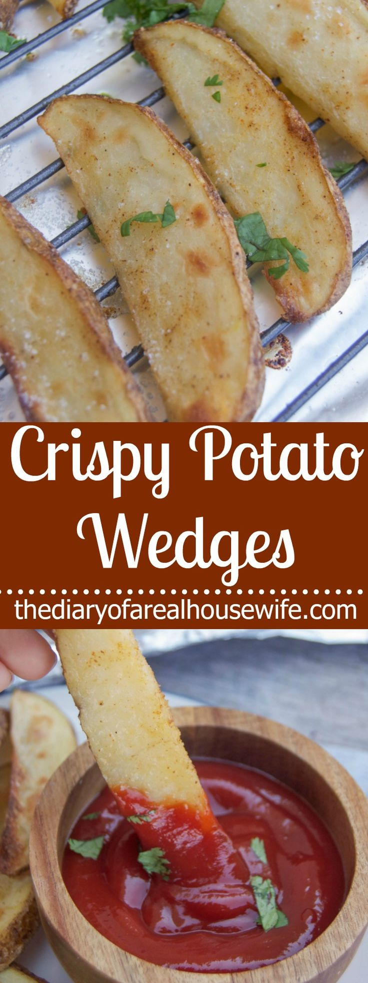 Crispy Potato Wedges. The BEST way to make potato wedges at home. So easy and they come out so crispy!