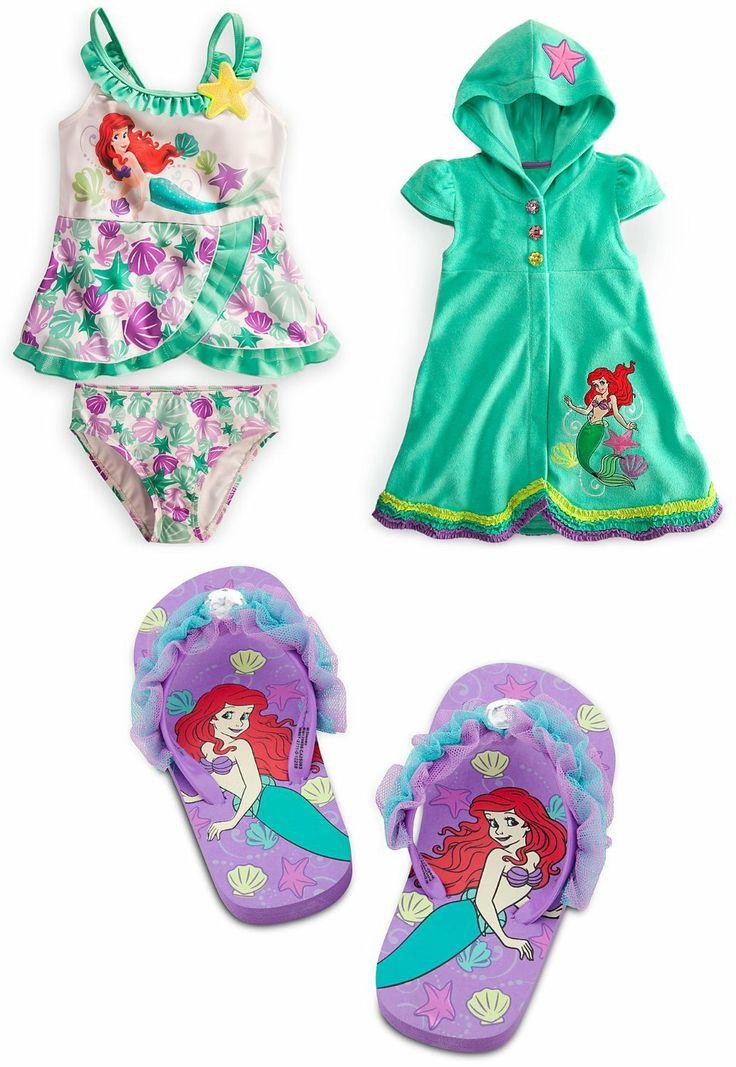Disney Little Mermaid Princess Ariel Swimsuit Set two pieces swimsuit, cover up, flip flops