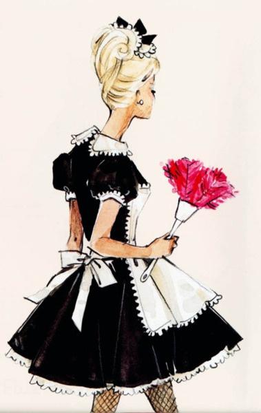 """French Maid"": French Maid, Barbie Girl, Barbie Illustration, Fashion Sketches, Barbie Sketch, Fashion Art, Maids, Fashion Illustrations"