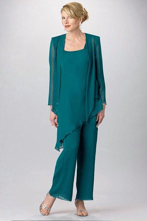 trajes de pantaln de gasa para la madre de la novia del trullo verde la