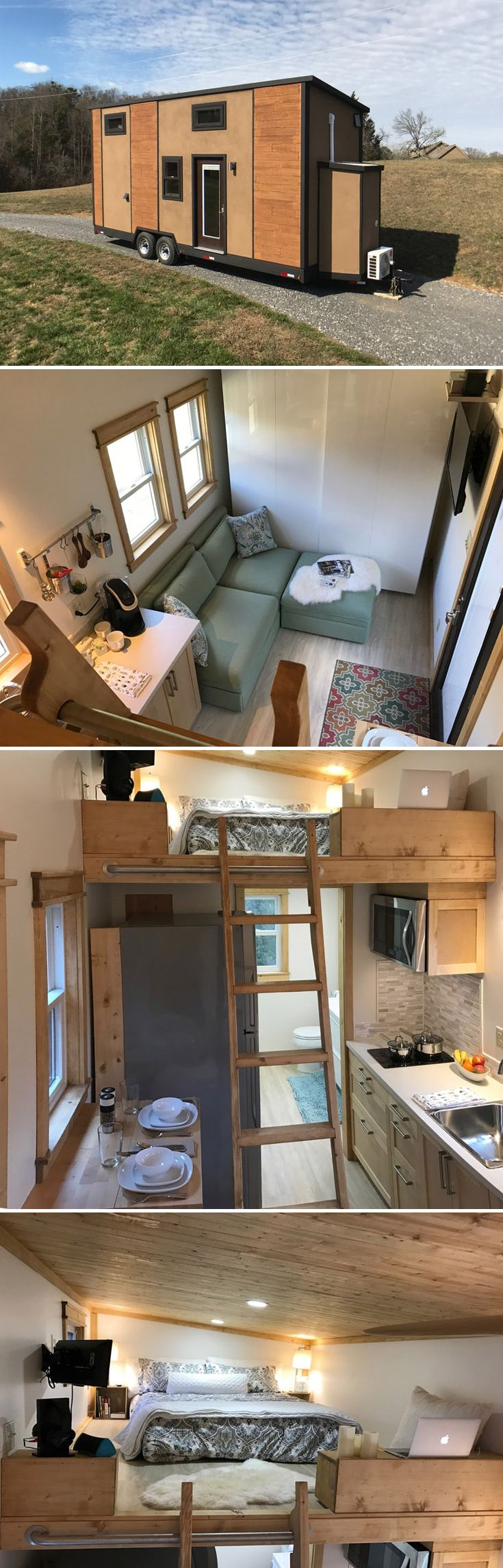 With its fiberglass composite walls, the Amsterdam by Transcend Tiny Homes is one of the lightest 24' tiny houses available, weighing in at 8,340 lbs.