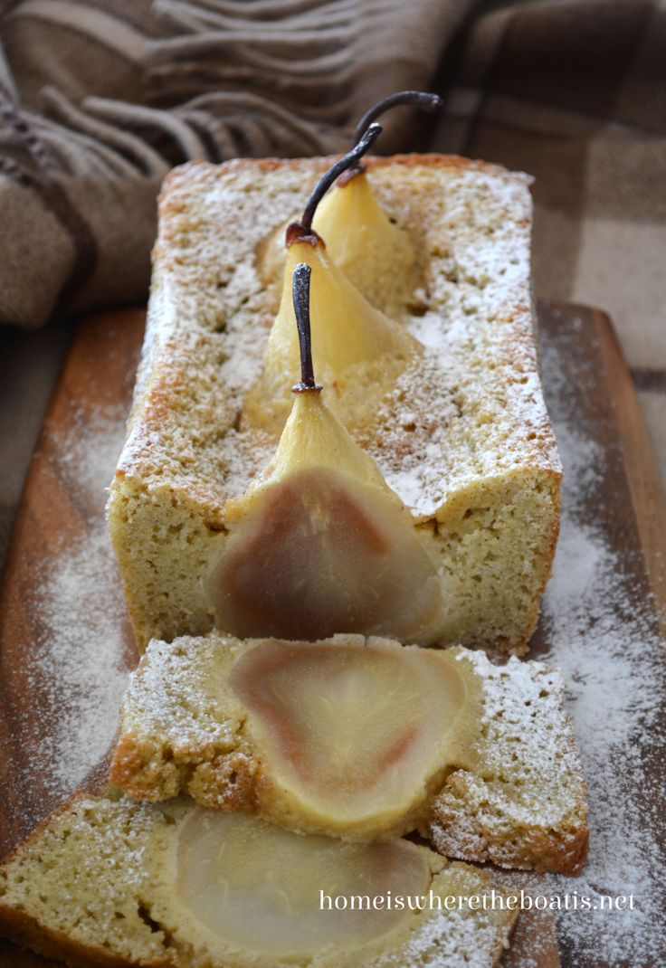 A delicious -- and stunning -- pear cake will take center stage at a dinner party. Recipe at Home Is Where the Boat Is.