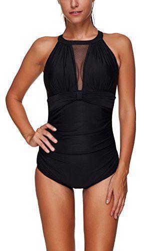 YuanYan Femme Maillot de Bain Elégant amincissant Monokini Push Up 1 Pièce  Shorty Chic Noir  836b1f7469a1