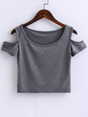 Grey Open Shoulder Crop Top