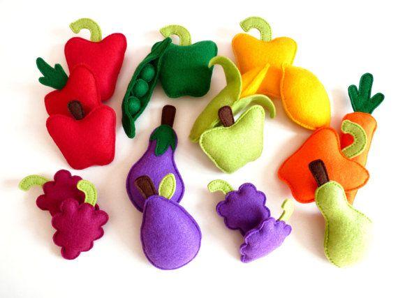 Felt Fruit and Vegetables Plush Play Set Toy от HandmadebyKATuck