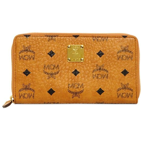 MCM Heritage Line Zip Around Wallet ($390) ❤ liked on Polyvore featuring bags, wallets, wallet, mcm, tan, zipper bag, tan bag, zip around bag, yellow wallet and zip wallet