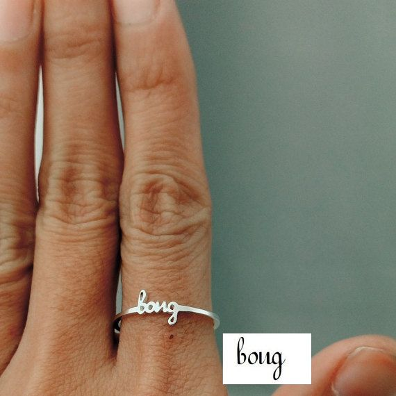 Dainty Name Ring Stacking Name Ring Stackable by JewelryRB on Etsy
