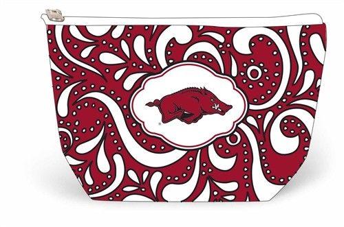 Arkansas Razorbacks Scroll Zipper Pouch