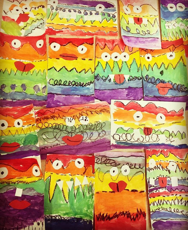 Kindergartens' line monsters We have been learning how to draw different kinds of lines and the colors of the rainbow! Thanks @cassie_stephenz for the inspiration! #artteachersofinstagram #artteacher #evansdaleart #dekalbartteachers #kinderart