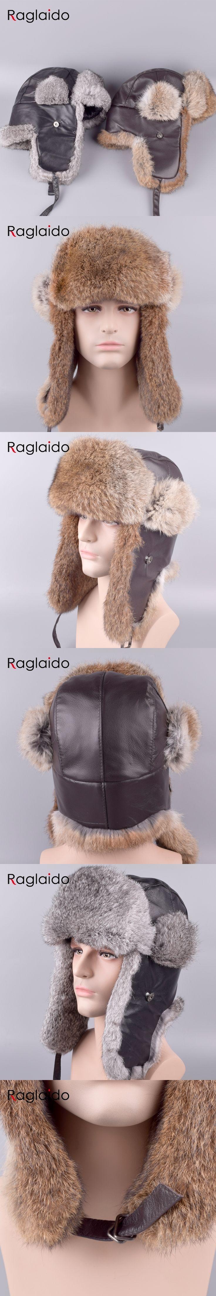Raglaido Ushanka Fur Hats for Men Outdoor Winter Real Rabbit Fur Trapper Hats+Genuine leather snow caps Russian ear cap LQ11203