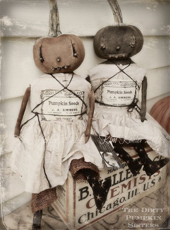 Primitive Pumpkin Doll Dirty Sisters Folk Art Doll's Orange Black Hand Made Fabric Cloth ooak Halloween Vintage Veenas Mercantile