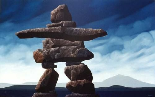 "Inukshuk in Nunavut. Means ""likeness of a person"". First used by the Inuit people to mark trails,locate nearby settlements and mark good places to hunt and fish."