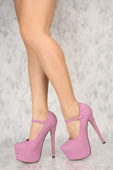 707925b9106 Sexy Lilac Mary Jane Platform Stiletto 6 Inch High Heels Faux Leather