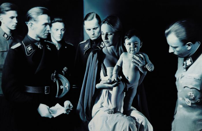 """""""Epiphany I (Adoration of the Magi)"""" by Gottfried Helnwein. What an astonishing distortion of the birth of Jesus Christ. Twisted yet intriguing."""