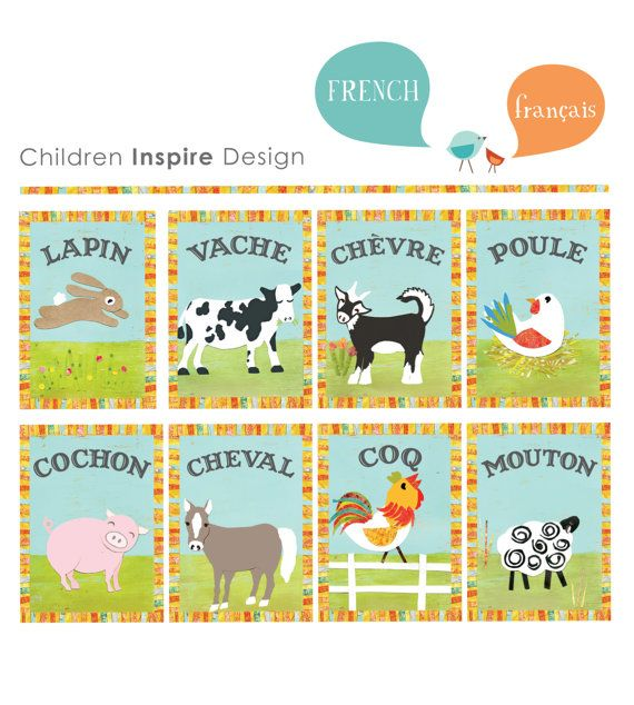 French Animal wall cards