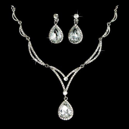 Bridal Wedding Jewelry Set Crystal Rhinestone Unique Chain Teardrop Necklace $28.50