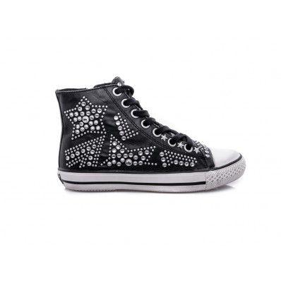 #ASH - Sneakers in nappa con dettaglio stelle in borchie nero - Elsa-boutique.it <3