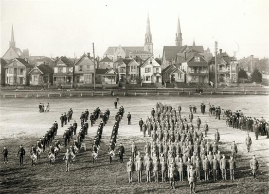 A parade ground at 600 Cambie in 1910. Vancouver Public Library VPL 194