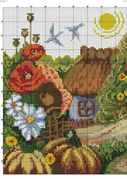 Домик в деревне схема вышивки. Вышивка крестом домик в цветах   Я Хозяйка