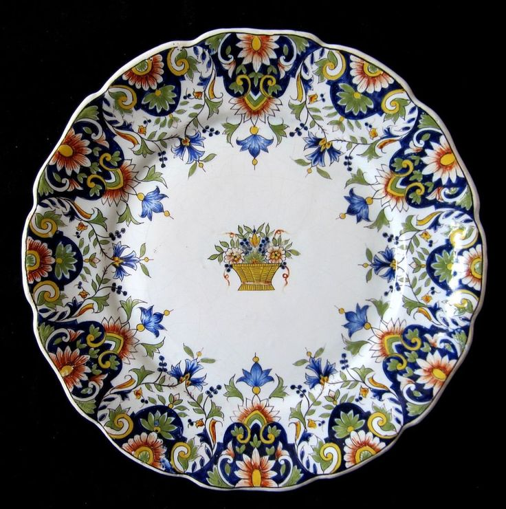 Antique french faience fourmaintraux courquin desvres plate rouen decor 19th cen rouenfloral