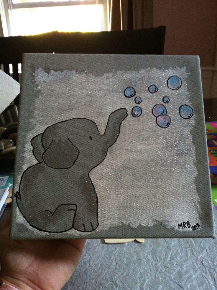 Baby Elephant Canvas That I Painted Michaelas