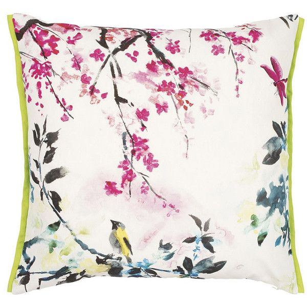 Designers Guild Chinoiserie Peony Outdoor Cushion ($61) ❤ liked on Polyvore featuring home, outdoors, pink and flower stem