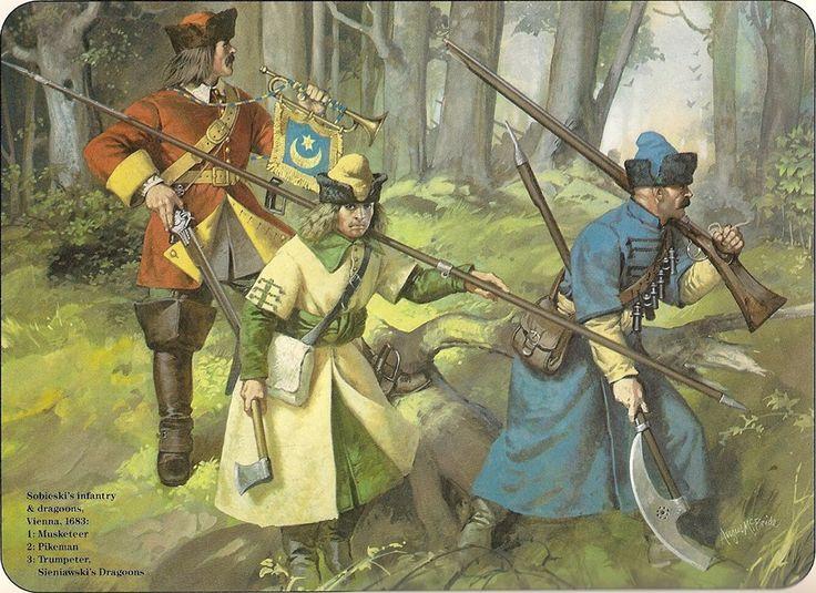 Sobieski's infantry & dragoons, Vienna, 1683: 1:Musketeer. 2:Pikeman. 3:Trumpeter, Sieniawski's Dragoons.