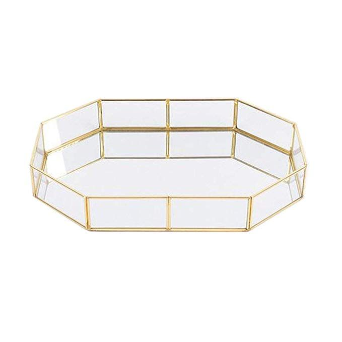 Pahdecor Vintage Makeup Jewelry Organizer Mirrored Glass Tray Handmade Home Decorative Metal Vanity Tray Gold Leaf Finish Glass Vanity Vanity Tray Mirror Tray