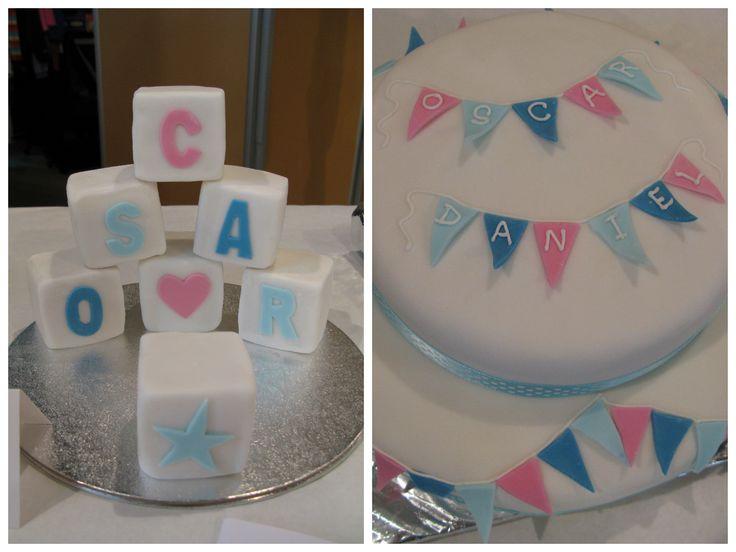 Christening Cake - Bunting and Building Blocks