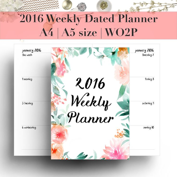 2016 Weekly Planner Dated | Week on 2 Pages | Planner refill | Planner insert | 12 month diary | Agenda | A5 | A4 | Kikki K | Filofax | WO2P by StyleCelery on Etsy https://www.etsy.com/listing/263134694/2016-weekly-planner-dated-week-on-2