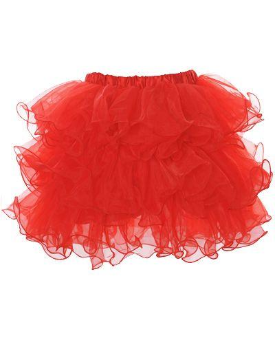 Rood tule tutu rokje met elastische band. Past perfect onder een corset. Leuk voor burlesque, carnaval, ballet, shows en wordt ook veel gebruikt voor o.a. bedrijfs promoties. Maten: S/M, M/L