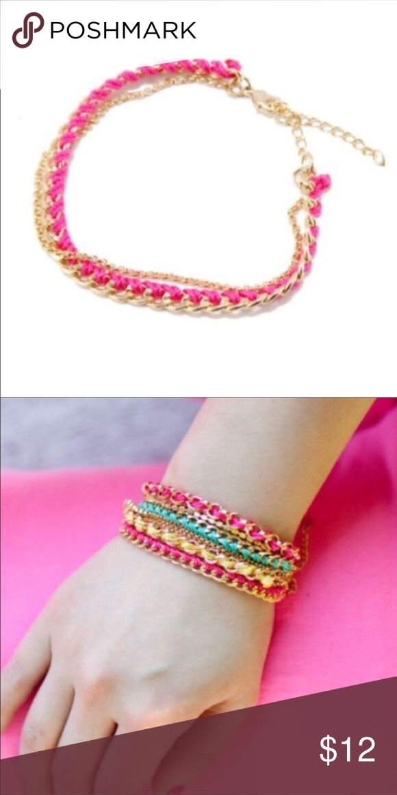 Double Chain Bracelet with Pink Tread Double chain bracelet with pink thread and crystals. T&J Designs Jewelry Bracelets