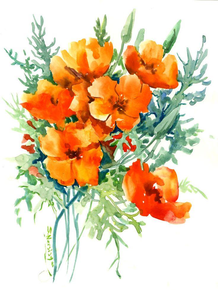 424 best watercolor flowers images on pinterest. Black Bedroom Furniture Sets. Home Design Ideas