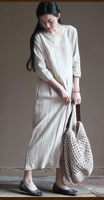 Tunic linen dress. Nude linen maxi dresses half sleeve linen summer maternity dress sundresses