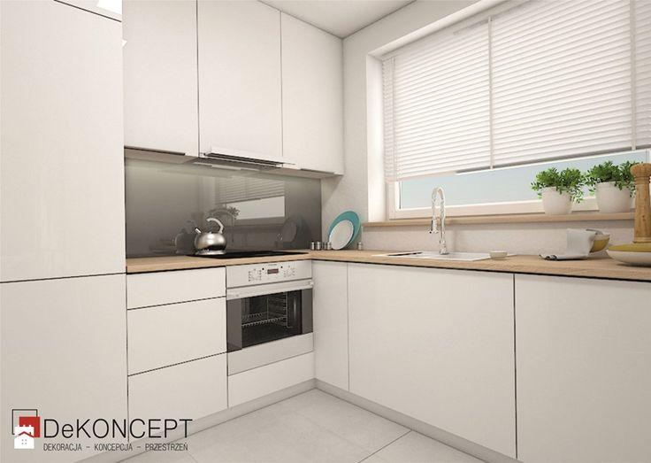 grafit - Średnia otwarta kuchnia w kształcie litery l w aneksie z oknem - zdjęcie od Dekoncept