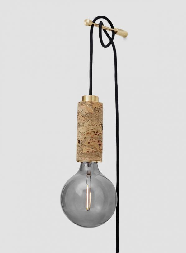 Nove Marbled Cork Plug In Wall Light With Wall Bracket Wall Hanging Lights Plug In Hanging Light Plug In Wall Lights
